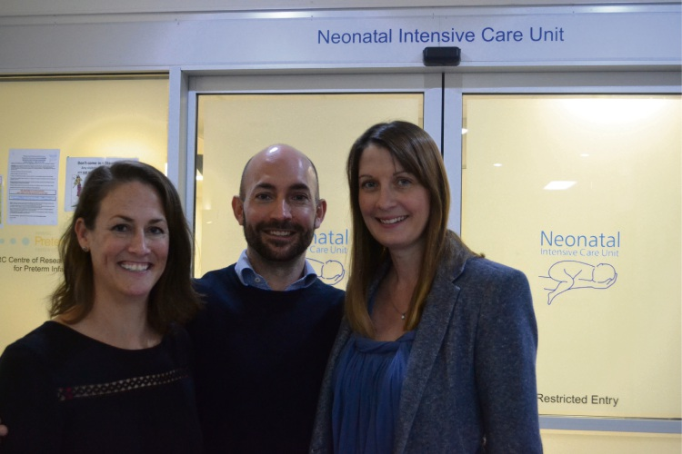 Helping Little Hands co-founders Kate Crassweller, Scott Beedie and Joanne Beedie outside the NICU at King Edward Memorial Hospital.