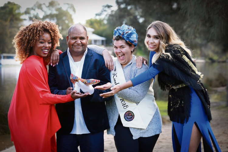 Astrid Tshidibu (BEYA Model Academy), Acclaimed Noongar artist Peter Farmer, Trudy Snow, who won the Miss Kwokbordok (Beautiful) award at Miss Naidoc and Jacinta Blurton (Model). Photo: Andrew Ritchie