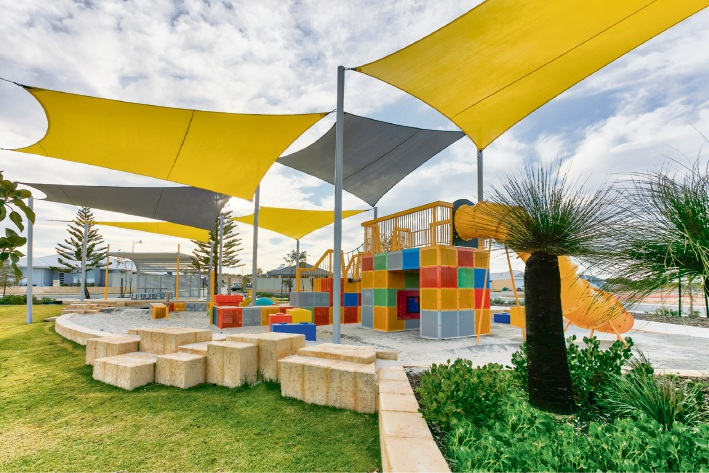 Colour Block Park is in walking distance of the new land release at Golden Bay Estate.