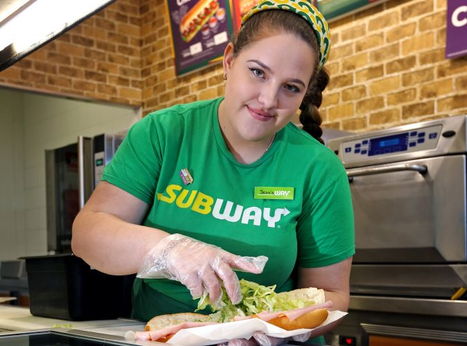 Jess Aufdemkampe is officially Australia's fastest sandwich artist. Picture: David Baylis
