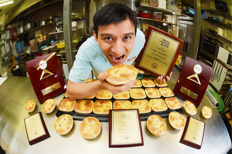 Andy Le with his award winning pies.