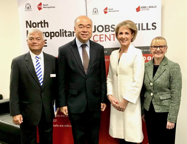 North Metropolitan TAFE executive director Peter Ebell, Moore MHR Ian Goodenough, Jobs and Innovation Minister Michaelia Cash and North Metropolitan TAFE  managing director Michelle Hoad.