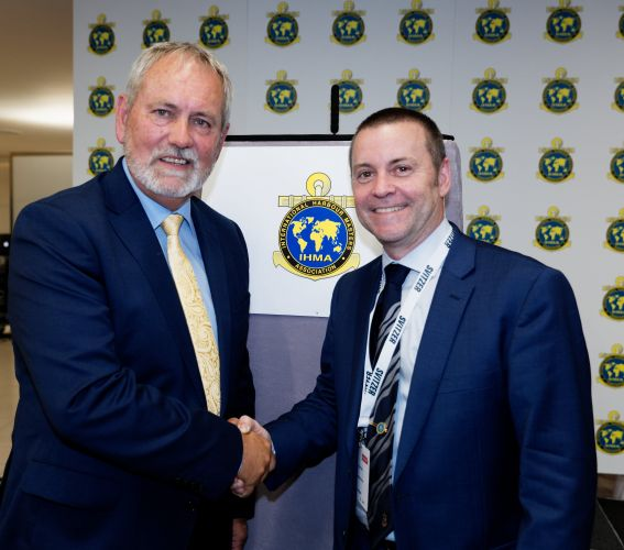 (l-r) Retiring IHMA president Capt Kevin Richardson congratulates Capt Gray on his appointment.