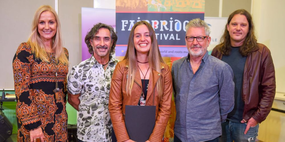 Saahli Jewel (middle) with the Fairbridge Festival Quest youth songwriting competition judges.