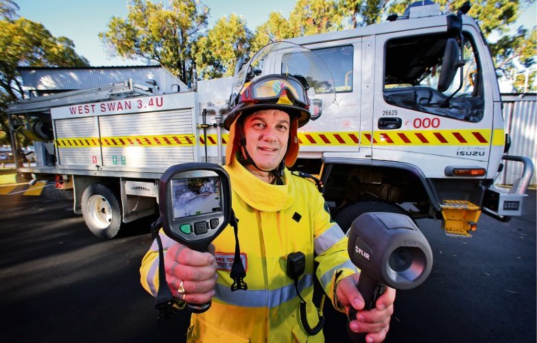 Mike Teraci (Senior Fire Control Officer) at the West Swan Fire Station with new FLIR Infrared heat cameras.  The West Swan Fire Station received a grant recently to purchase FLIR cameras. Picture: David Baylis www.communitypix.com.au   d484263