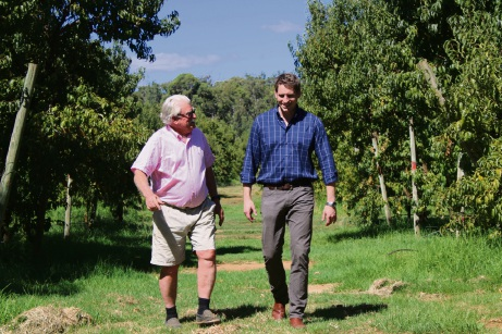 Andrew Hastie with Kargullen orchardist Tom Price.