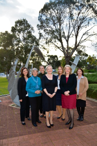 (l-r) Director City Regulation Maria Cooke, Cr Wendy Cooper, Director City Strategy Casey Mihovilovic, Chief Executive Officer Joanne Abbiss, Director City Legal Michelle Bell, Mayor Carol Adams and Cr Sandra Lee. (Absent: Cr Sheila Mills and Director City Engagement Barbra Powell).
