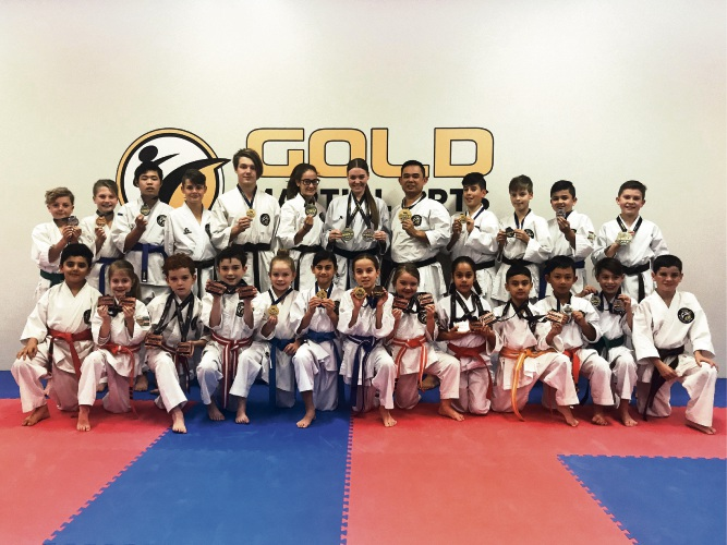 Gold Martial Arts medal winners.