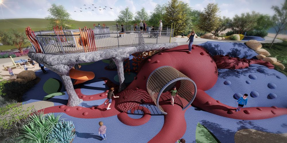 An artist's impression of the new The Harbour Playground at Secret Harbour. Picture: City of Rockingham.