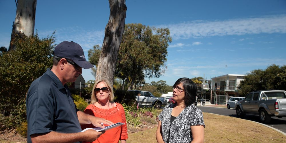 Local residents Chris Shaw,Leanne Panetta and Namita Mehra discussing density issues last year. Picture: Martin Kennealey 	d468473