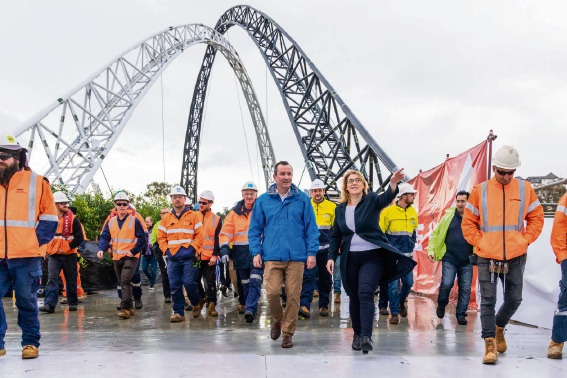 Mark McGowan and Rita Saffioti walked Matagarup Bridge with workers to test user experience and comfort. Photo: supplied