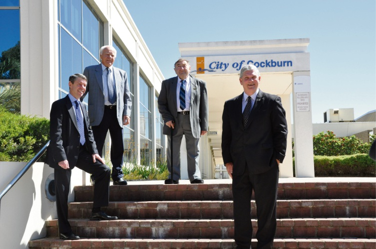 Freeman of the City, the late Don Miguel OAM JP - second from left, pictured with CEO Stephen Cain, Cockburn's inaugural Shire Clerk Tony Armarego and Mayor Logan Howlett during the City's 35th anniversary  celebrations.