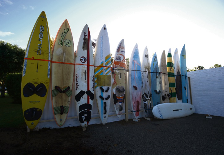 Surfboards outside the apartment complex. Photo: Matt Jelonek