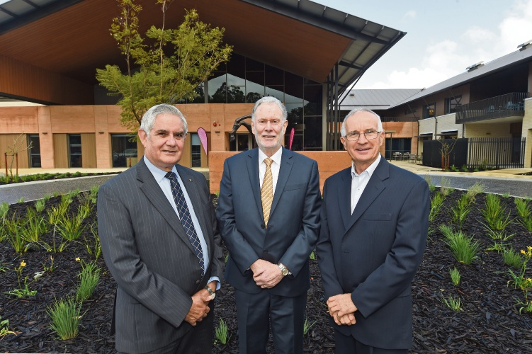 (L to R) Minister for Aged Care Ken Wyatt, Juniper CEO Vaughan Harding & Juniper Chairman of the Board Fred Boshart at the opening of Juniper Hayloft. Pic: Jon Hewson d484553