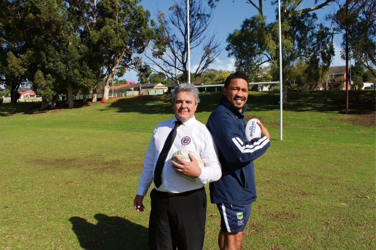 Willagee Bears Rugby League Club president Steve Bannister and State of Mind program deliverer Clinton Toopi are pleased that the program has completed the program.