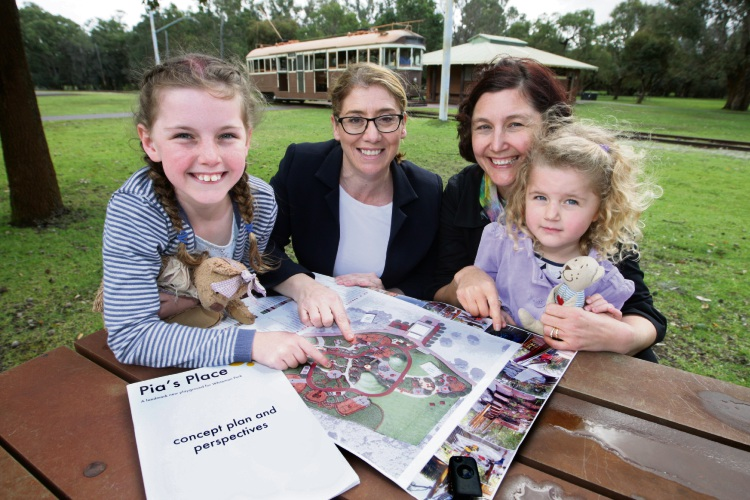 West Swan MLA Rita Saffioti with Amy Rudd and children Eva and Gillian. Picture: Bruce Hunt d484524