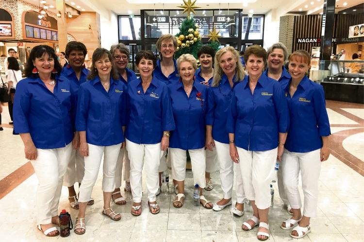 Perth Harmony Chorus singers.  Back row - Karen Gonsalves, Suzanne Edmunds, Su Owen, Lauretta Hall, Barbara Goldflam Front row - Leonie Wilson, Anne Guyan, Geri McDonald, Alison Martin, Carla Klomp, Sue Nichols, Jen Squires.
