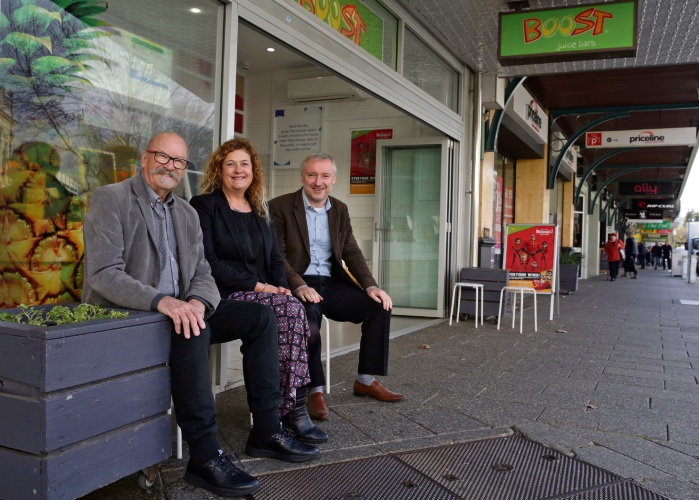 Rob Fittock (former Fremantle councillor and interim CEO), Julie Morgan (property owner /resident) and Karl Bullers (owner of National Hotel and Chair of Freo Now). Photo: Martin Kennealey
