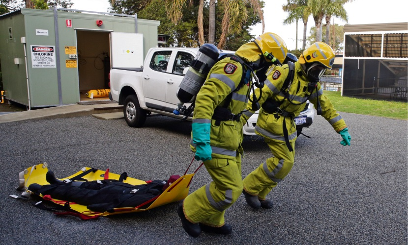 A City of Fremantle/DFES emergency training exercise at Fremantle Leisure Centre. Photo: Martin Kennealey