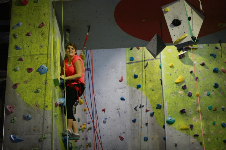 Emma Vardy (23) Melville, Vision Australia hosted community members who are blind or low vision for a day of indoor rock climbing at Rockface in Northbridge
