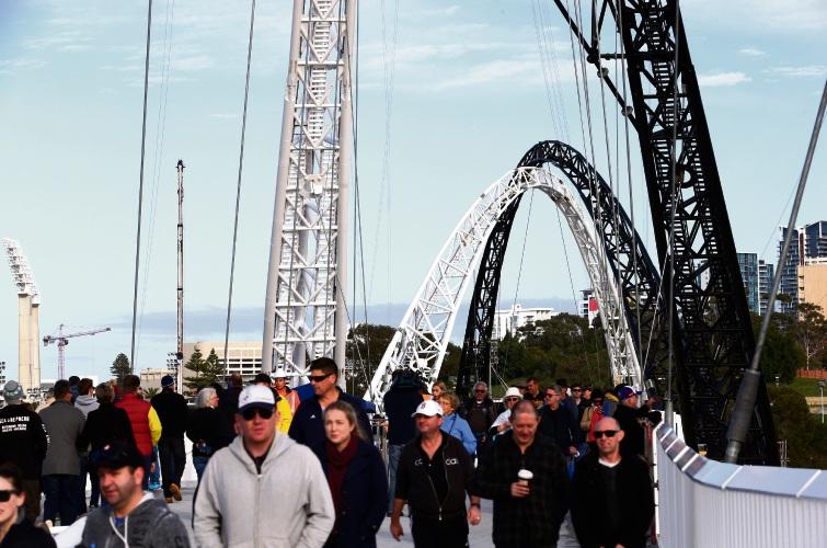 The Matagarup Bridge between East Perth and Optus Stadium opens for testing. Picture: Matt Jelonek.