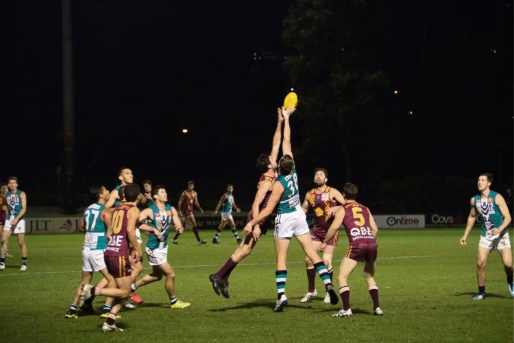 The ball in dispute. Photo: Joshua Sunderland