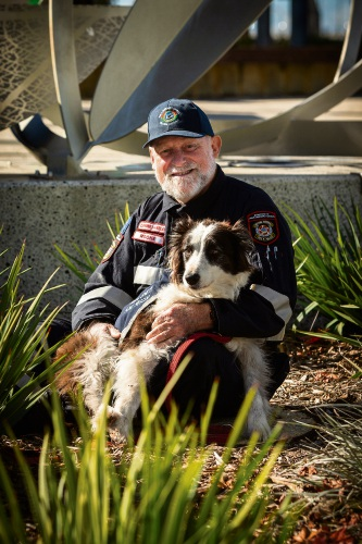 Michael Rooke with Zena, his 11-year-old border collie who is going into retirement. Picture: Will Russell
