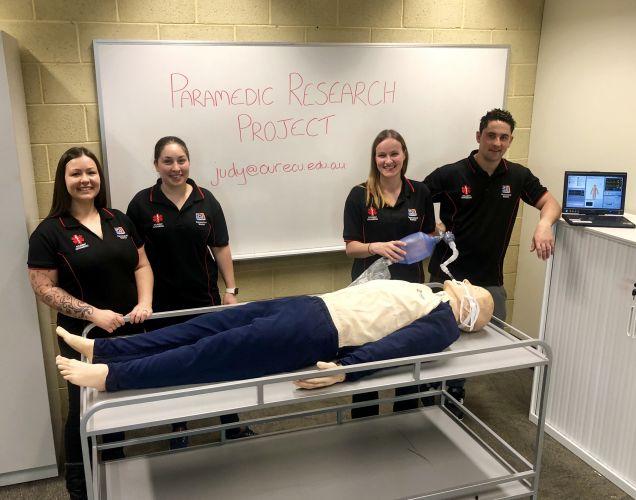 ECU paramedical science students Joslyn Udy, Leah Baker, Joanne Studds and Lucas Ewens.
