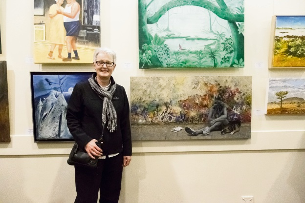 Chris Goldberg with her award-winning painting 'Invisible'.