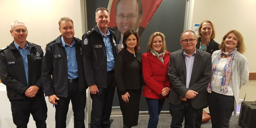 Senior Sergeant Darren Hart, Inspector Peter Davies, District Superintendent Andy Greatwood, Mellissa Teed, Murray-Wellington MLA Robyn Clarke, David Templeman, Police Minister Michelle Roberts and Mandurah deputy Mayor Caroline Knight at the forum.