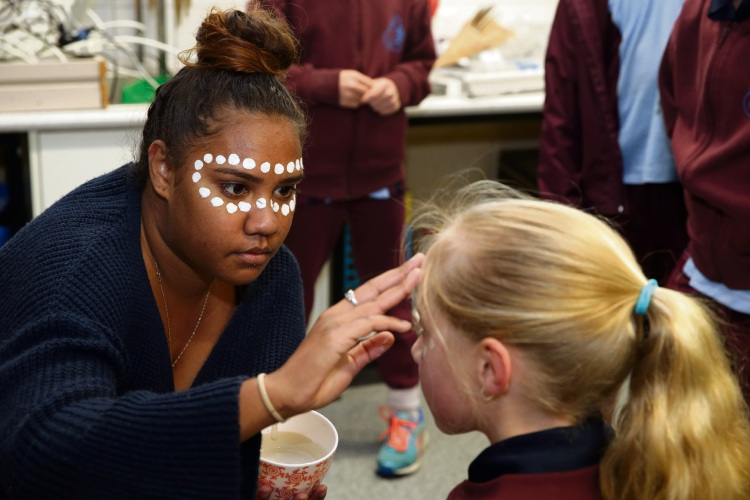 Latiesha Thomas (Urban Indigenous) with Year 3 student Abbey Lamont. Picture: 	Martin Kennealey d484355