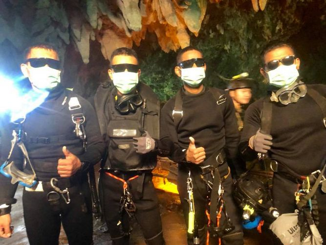 The last four of Thai Navy Seals members, who stayed with the youth soccer team and their assistant coach inside a cave until they all were rescued