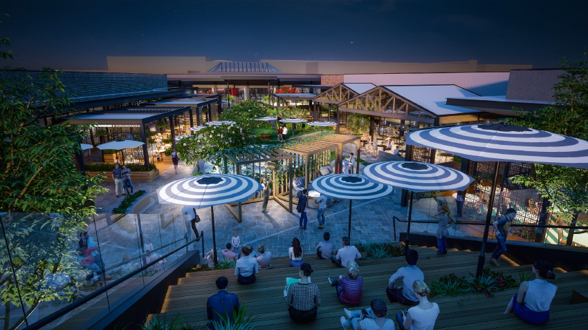 An artist's impression of the new rooftop dining and entertainment precinct at Westfield Carousel.