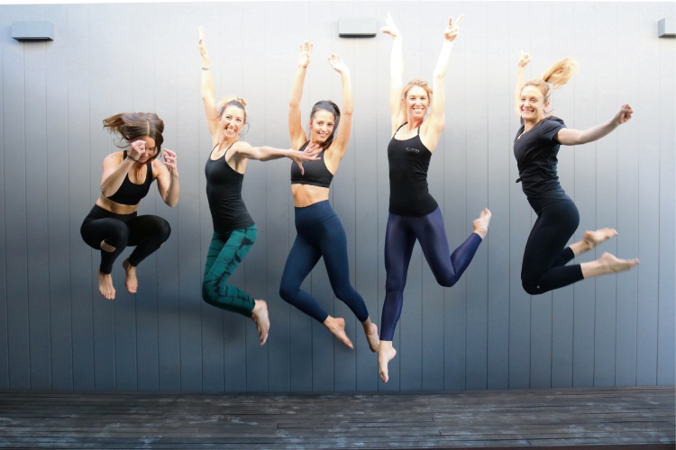 Kylie Crisp, Frances Cahill, Rachel Dekuyer, Suzanne Newby, Lora Rainy from the Pilates Fitness Institute gear up for the organisation's 18th birthday.