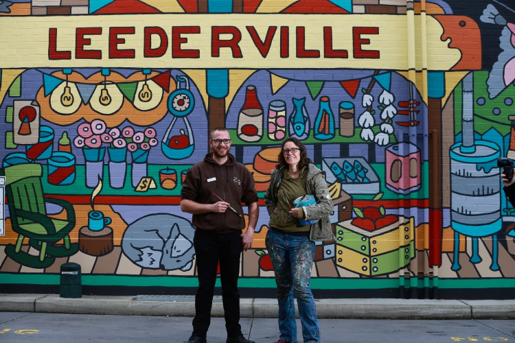 The Good Grocer Leederville IGA assistant store manager Mal Muhlethaer and artist Melski McVee. Picture: Andrew Ritchie.