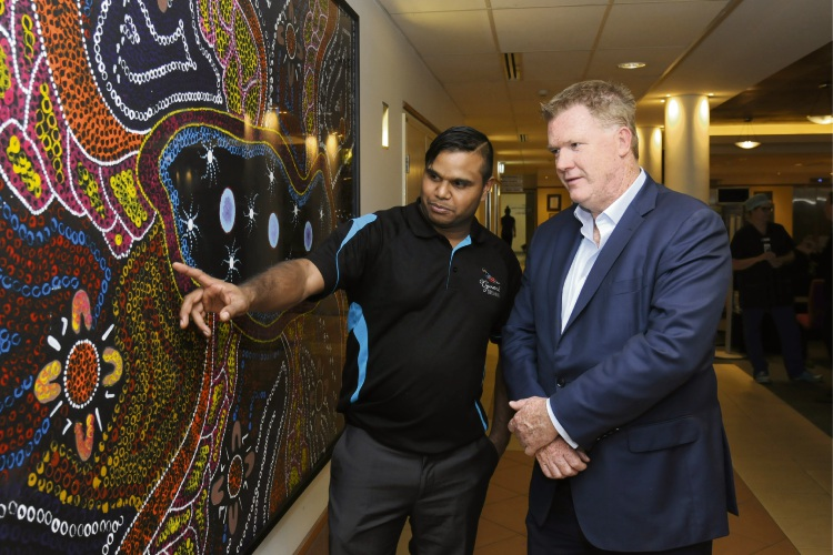 Artist Justin Martin with Joondalup Health Campus chief executive Kempton Cowan. Picture: Chris Kershaw