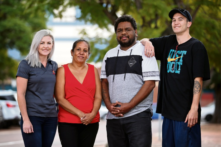 Matera Foundation program manager Suzy Barlow with Pathways to Employment graduates Stasha Tassone, Milton Mogridge and Matthew Fletcher. Photo: David Baylis