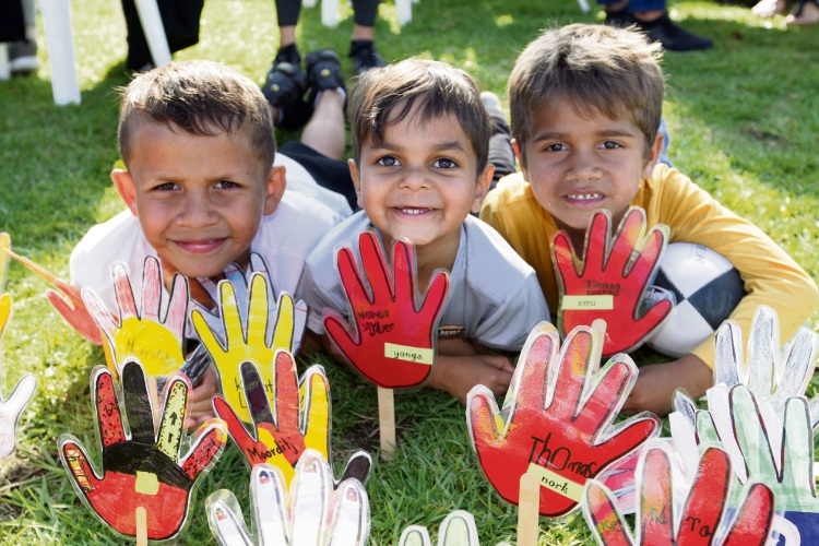 Jamie Ryder, Zane Dickie and Jaiden Taylor at the Naidoc celebrations at Midland Oval. Photo: Bruce Hunt