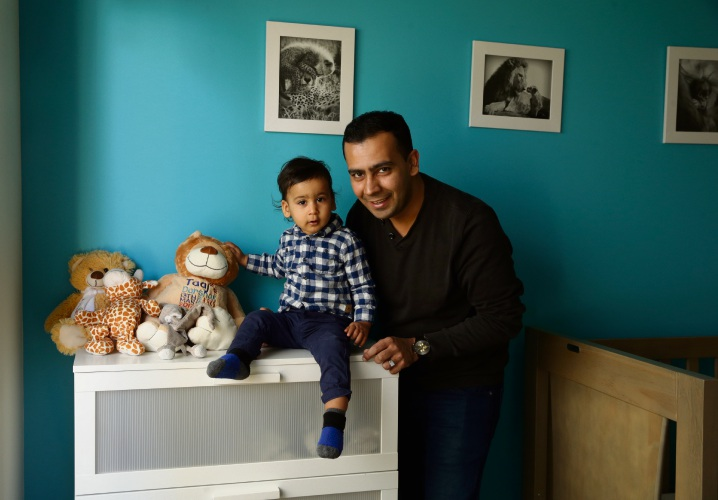Sharky Shah with his son Taaj, who is now 15 months. Picture: Martin Kennealey