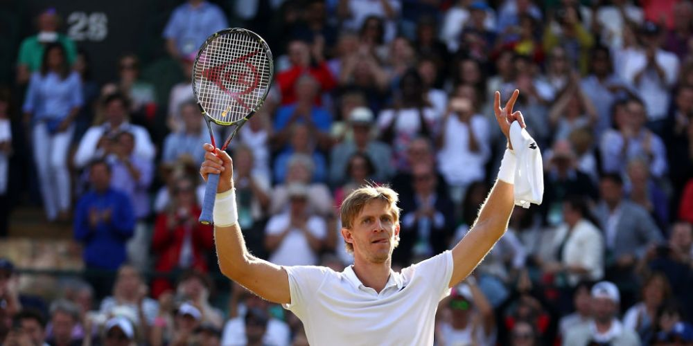 Kevin Anderson of South Africa celebrates winning match point against Roger Federer of Switzerland on day nine of the Wimbledon Lawn Tennis Championships at All England Lawn Tennis and Croquet Club. Picture: Michael Steele/Getty Images.