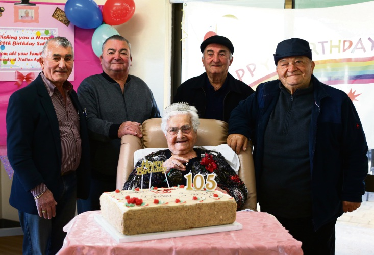 Sabbia Tilli celebrates her 105th Birthday and photographed with her family. Photo: Matt Jelonek.