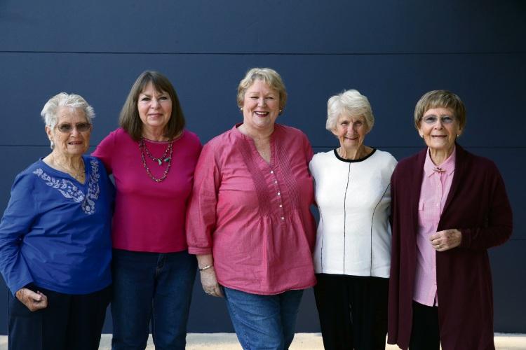Padbury Red Cross founding members Hilda Tompkins, Lesley Gardner, Zona Kable, Bertha Jones, and Eileen Wright. Photo: Martin Kennealey