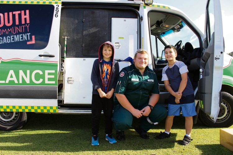 St John Ambulance events officer Jordan, with Brady Fulcher and James Murie.