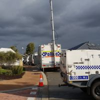 Police at the scene of the deaths in Ellenbrook. Picture: David Baylis.