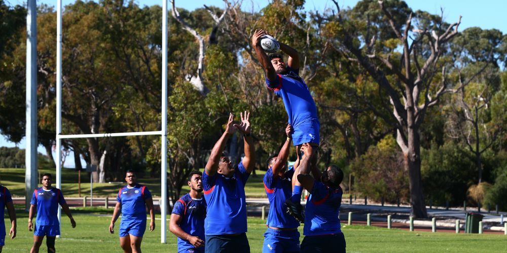 The Samoan Rugby Team train at the Wanneroo Rugby Union Club. Picture: Matt Jelonek