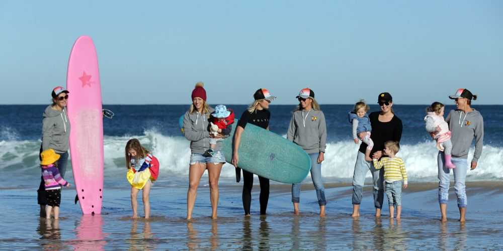 Surfing mums Ally McVicar (Mt Lawley), Elke Seppanen (Inglewood), Annie Mussell (Trigg), Clare Combe (Gwelup), Claire Glendinning (Subiaco) and Kellie Baldwin (Sorrento).