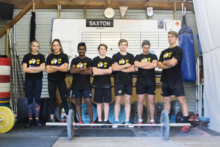 Ox Weighlifting Club members (L-R) Charlotte Saxton, Nina Kowalewski, Brijesh Vaddi, Lachlan Turton, Olie Saxton, Rourke Turton, Will Saxton.