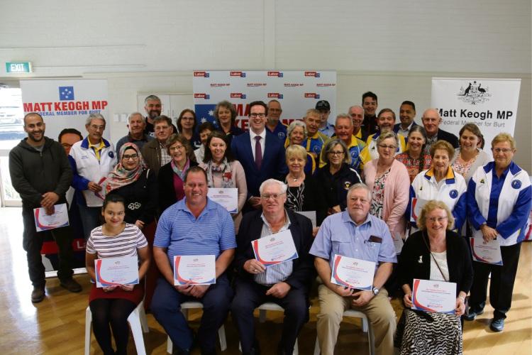 Burt MHR Matt Keogh (standing-centre) with finalists and winners of the Burt Volunteer Awards.