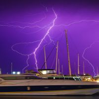 The news photography-nominated picture taken by Jon Hewson of lightning over the Mandurah Marina.