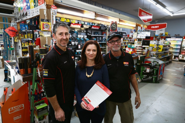 Scarboro Hardware owners Jarrad and Jenie Elliott, with staff member Phil Heldt. Picture: Andrew Ritchie.